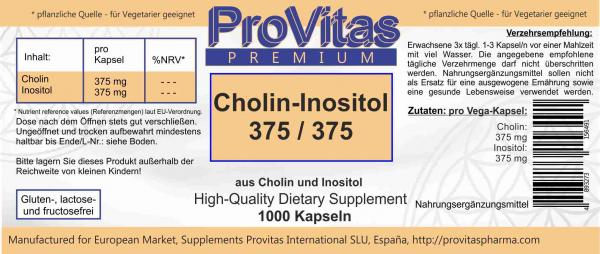 Cholin & Inositol, 1000 Kaps. á 375/375 mg Bulkware